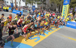 The elite men start the 117th running of the Boston Marathon, in Hopkinton, Mass., Monday, April 15, 2013. (AP Photo/Stew Milne)